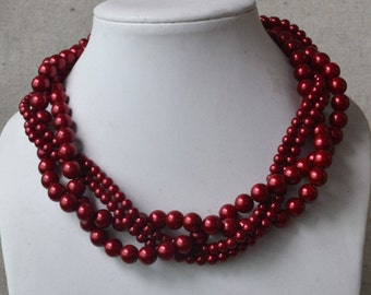 pearl necklace Burgundy pearl necklace,four strands pearl necklace, bridesmaids necklace,glass pearls necklace,wedding pearl necklace