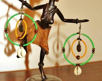 Earrings African cowrie shells
