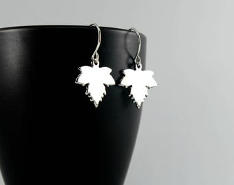 Silver Maple Leaf Earrings, Silver Leaf Earrings, Dangling Silver Earrings, Silver Earrings, Moonlit Goddess Jewelry, Maple Leaf Jewelry