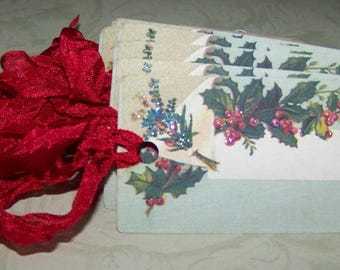 Christmas Place Cards Handmade Vintage Style Christms Tags Set of 6 or 9