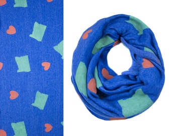 SAMPLE SALE - Oregon Love Infinity Scarf - Hand Printed Sweatshirt Fleece Circle Scarf in Heather Royal Blue Green and Red Q