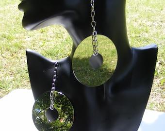Statement silver earrings stainless steel long earrings mirror recycled dangle drop earrings handmade birthday gift geometric earrings