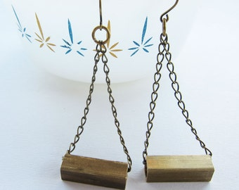 Antique Brass Bar + Chain Dangle Earrings Geometric Rectangle Tube Jewelry