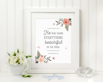 Scripture Wall Art Printable Bible Verse Print Ecclesiastes 3 Christmas Christian Gifts for Women Bible Verse Wall Art Scripture Prints Sign