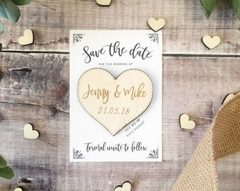 Wooden Heart Magnet Save the Date Rustic