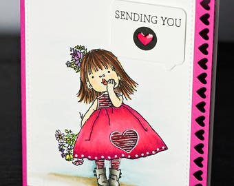 Hand Stamped, Hand Colored, Sending You Love Valentines Day Card, Valentine, Blowing Kisses, Copic Colored