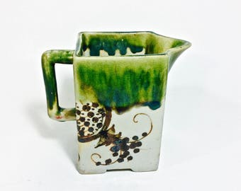 Asian Drip Glaze Pottery Pitcher, Beautiful Square Pitcher Vase, Eclectic Design, Unisex