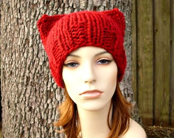 Knit Hat Red Womens Hat - Cat Beanie Hat in Poinsettia Metallic Red Knit Hat - Red Hat Red Beanie Red Cat Hat Womens Accessories Winter Hat