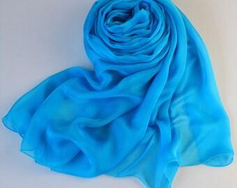 Light Blue Silk Chiffon Scarf -Sky Blue Silk Chiffon Scarf - 2015-32