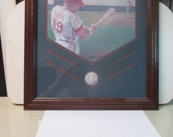 """Framed 17"""" x 15"""" picture of a baseball player with wooden frame with glass"""