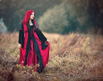 Fyre Faery Dress - Handmade Coat Style Gothic Velvet Medieval Dress Pagan LOTR Game of Thrones