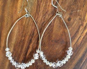 Silver wire tear-drop dangle hoop earrings
