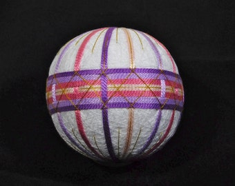 Temari Ball Ornament Bands of Pinks and Purple on White Home Decor Wedding Gift