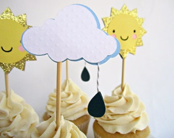 Cloud with Rain Drop Cupcake Toppers, Rain Cloud, Baby Shower Cupcake Toppers, Up Up and Away, Birthday Cupcake Toppers, Bridal Shower