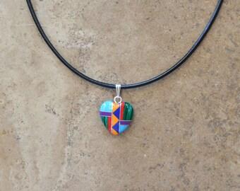 Multi Inlay baled Heart pendant on leather cord Necklace (Zuni Fetish style)