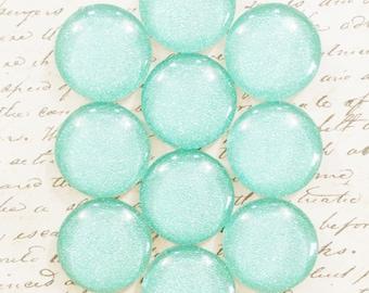 Glass Push Pins / Magnets - Blue Glitter Push Pins - Glass Push Pins - Office Push Pins - Decorative Push Pins - Bulletin Board - Mint Green