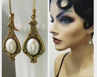 Lady Mary Pearl Earrings - Downton Abbey Style - Art Nouveau Jewelry  - Edwardian Jewelry - Titanic Jewelry - Dainty Earrings