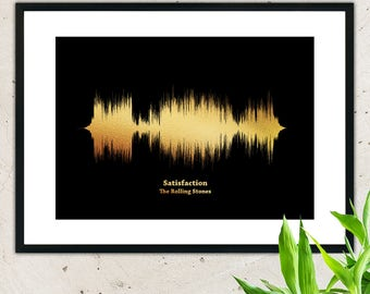 Print your favourite song in metallic gold foil,wall hanging,sound waves,sound wave art,soundwave,soundwave art,art print,wall decor,wave