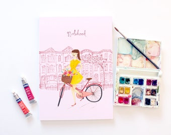 Lady Cyclist A5 Lined Notebook