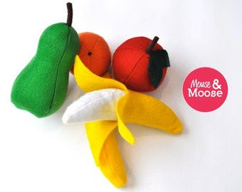 Eco Friendly 100% Wool felt play kitchen Fruit Package, felt food for play kitchens, make believe, and pretend play.
