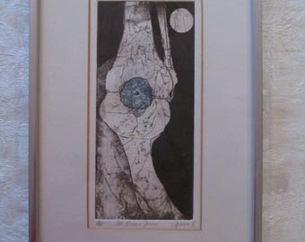 Mid Century S. Acheson A/P Abstract Etching Print Signed & Dated 1975