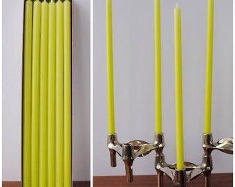 """Set 12 Candles lemon green 11.8"""" long * Ø 0.5"""" * 30cm / Ø 1.2 cm * for BMF * NAGEL * QUIST stackable Candle Holders * Mid Century Home"""