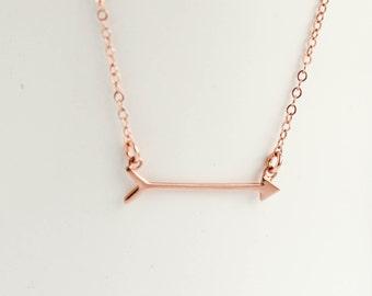 Arrow Necklace, Rose Gold Arrow Necklace, Arrow jewelry, Rose Gold jewelry, Rose Gold necklace
