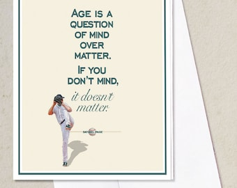 """Baseball quote, Typography, Baseball Art, Gift, Note Card, Greeting Card, Gift Set, """"Age is a question of mind over matter..."""