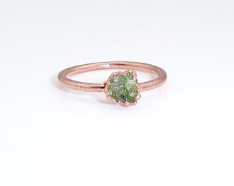 Raw peridot ring, Raw ring, Raw crystal ring, Peridot jewelry, Electroformed ring, Raw stone ring, Dainty ring, Dainty crystal ring