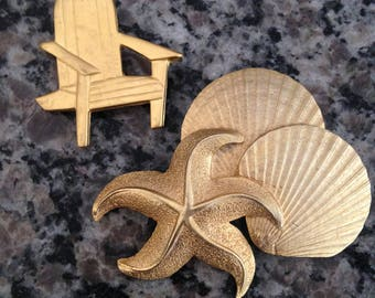 Matte Gold Tone Mystique Shell Cluster Brooch and Paquette Adirondack Chair Brooch