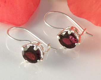 Garnet Earrings in Sterling Silver, Red Garnet Jewelry Gift For Her, Gemstone Earrings, Round Faceted Garnet Earrings - MADE TO ORDER