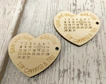 Save The Date Wooden Hearts, Wedding Save The Dates