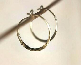 Rustic Elegance Simple Hammered Hoop Earrings in Sterling - Silver Handmade Hoop Dangles - Choose Your Size - Silver Drop Earrings