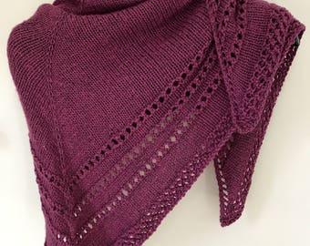 Handknitted Wool/Bamboo Purple Triangle Scarf/Shawlette