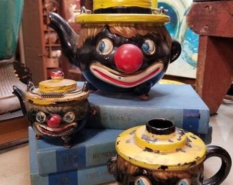 Vintage 1940s Thames Redware Clown Teapot, Oil Lamp bottom, and Salt Shaker