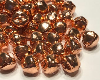 10 shinny copper color metal Jingle Bells, 10 mm (A1)