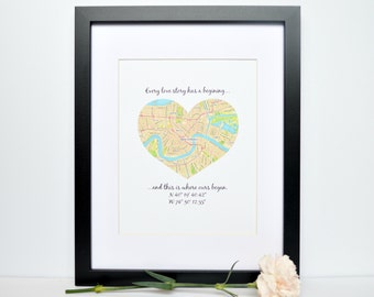 Latitude Longitude Coordinates, Gift for Bridal Shower, Housewarming Gift, Custom Engagement Gift, Elopement Gift, GPS Coordinates Decor