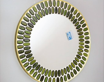 Mid-Century Tile and Brass Wall Mirror, Green Vintage Mirror, 1950s Germany, bathroom mirror, mosaic mirror