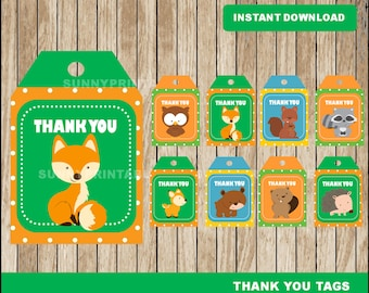 Woodland tags; printable Woodland Thank you Tags, Woodland party tags instant download