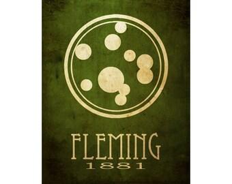 Alexander Fleming 11x14 Microbiology, Microbiologist Art Poster, Rock Star Scientist, Penicillin Petri Dish, Biology Medicine Art