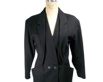vintage 1980's GIANNI VERSACE tailored jacket / black / wool / belted back / vintage blazer / women's vintage jacket / tag size 40