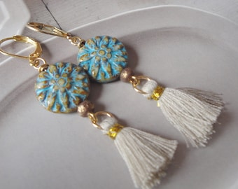St. Tropez Chic    Aqua Flower And Tassel Earrings