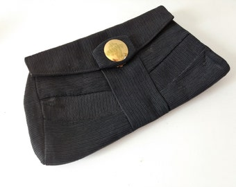Vintage 1950s 1960s oversize large black fabric clutch