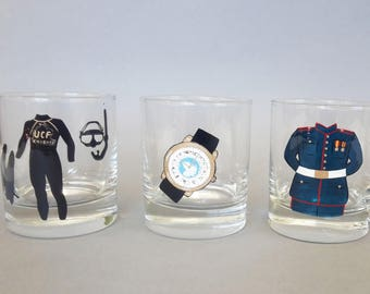 Gift for Groom, Husband or Father, Bachelor Party Custom Whiskey glasses For Navy uniform, diving suit, bicycle, marine theme