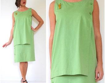 Vintage 70s 80s Christian Dior Coordonnes Lime Green Polished Cotton Shift Dress (size medium, large)