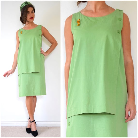 Vintage 70s 80s Christian Dior Coordonnes Lime Green Polished Cotton Shift Dress (size medium, large)