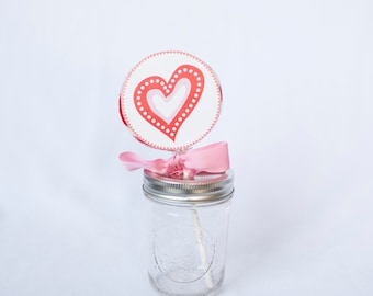 Valentine Whirly Pop. Party Favor. Lollipop. Red. Cherry Flavored. Birthday. Pink. Valentine's Day. Heart