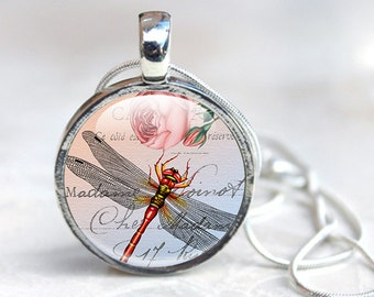 Insect pendant - dragonfly Pendant - Insect Glass Pendant - Glass Dragonfly Necklace (Insect 2)