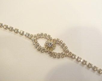 Beautiful Brilliant Rhinestone Centerpiece Bracelet