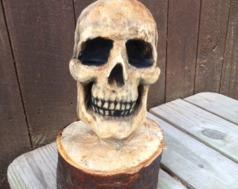 Skull Chainsaw Carving, Wood Carving, Spooky Sculpture, Handmade Woodworking, Perfect Wood Gift, Statue, Hand Carved Wood Art by Josh Carte